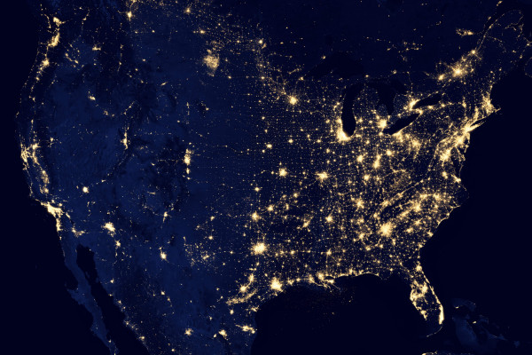 Nasa marble map of lightpollution in the cities of the United States